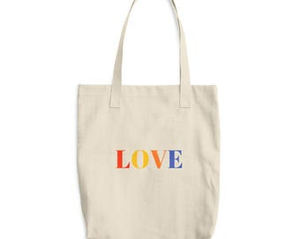 Love Farmer's Market Bag, Heavy Duty Book Bag, Grocery Bag, High-Quality Reusable Tote Bag