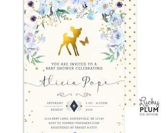 Deer Baby Shower Invitation / Woodland Baby Shower Invitation / Winter Woodland Baby Shower Invitation / Coed Baby Shower Invitation