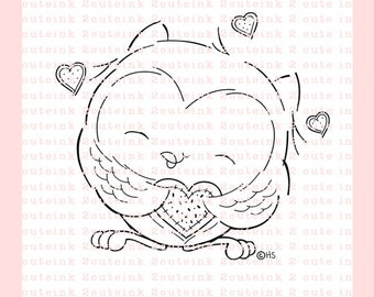 Owl You Need Is Love Digital Stamp