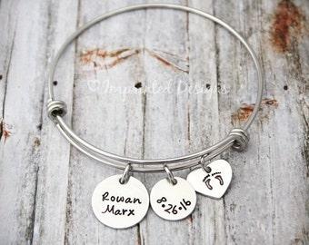 Charm Bracelet - Mother Bracelet - Push Gift - Personalized - Silver Bangle - Adjustable - New Mom - Grandmother - Baby Shower Gift