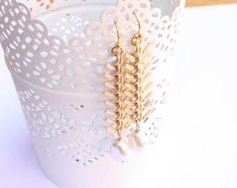 Matte Gold Pearl Chain Earrings, Bridal Earrings, Ready to Ship
