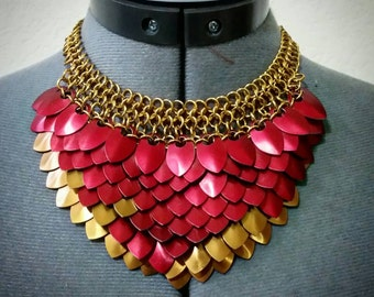 Scale Maille Dragon Necklace with Accent Color