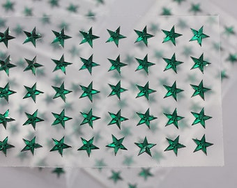 6mm 8mm Green Emerald Stick On Star Rhinestones Gems For DIY Cards and Invitations  - 50 Pieces