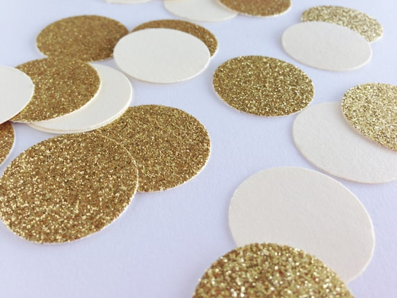 "Cream + Gold Glitter Confetti - 1"" - Bachelorette Party. Birthday Party. First Birthday. Bridal Shower. Wedding. Engagement. Christmas."