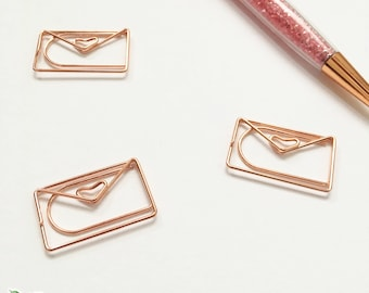 Decorative Fancy Rose Gold Envelope Happy Mail Paperclips Planner Clip