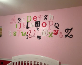 Painted Wood Alphabet Letters for Baby Nursery Wall Decor in Girl or Boy Kids Room Teacher Gift for Classroom Decor Baby Shower Gift Idea