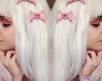creepy cute eyeball bat Wings Hair Clips pastel goth kawaii halloween,nugoth