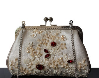 Evening bag, Embroidery evening bag, wedding bag, clutch, leather bag, white leather bag, purse, evening purse, lace bag, mini bag, marriage