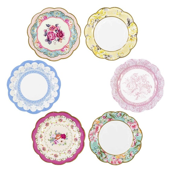 12 charm and trendy Floral party plates / Pink Rose Paper Plates ...