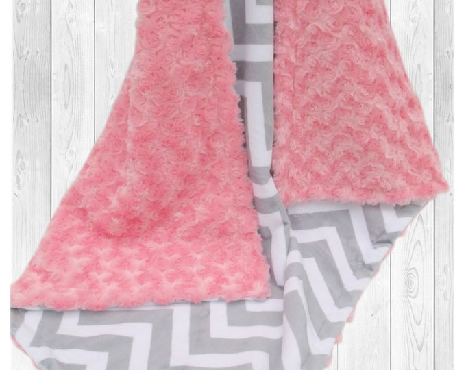 Coral and Gray Chevron Minky Dot Baby Blanket, Salmon Coral Minky Blanket, Coral Rose Swirl Baby Blanket