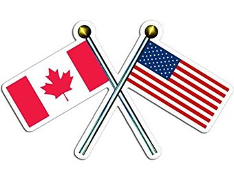 Flag Poles with USA Canada Sticker (American Canadian decal)
