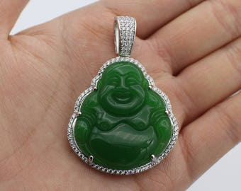 Custom 3d jade 14k yellow gold laughing buddha pendant charm custom 3d jade 14k white gold laughing buddha pendant charm with 13 ct natural diamonds aloadofball Choice Image