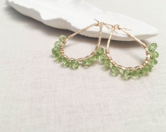 Peridot and Gold Teardrop Earrings - 14k Yellow Gold Fill Wire Wrapped Faceted Green Peridot Gemstones on Hammered Hoops August Birthstone
