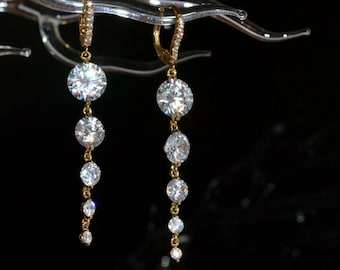 Gold bridal earrings, statement bridal earrings, long crystal earrings, gold wedding jewelry