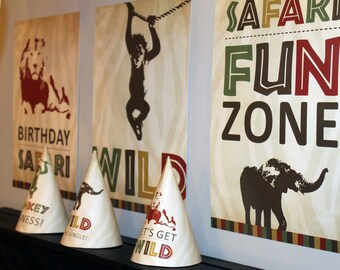 Safari Birthday Poster Set, Jungle Birthday Poster Set, Zoo Birthday Poster Set