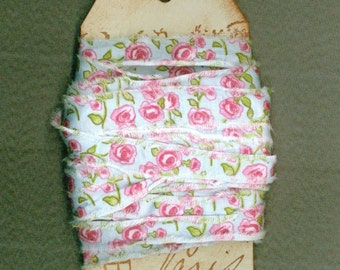 13 yards paris hand stamped tag shabby cottage chic pink blue hand made 3/4 inch ribbon Muslin 861-16 . ....oohlala