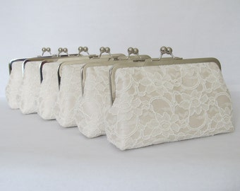 SALE 20% OFF Bridal Silk And Lace Clutch Set Of 6 ivory,Wedding Bags And Purses,Bridesmaid Clutches,Bridal Accessories
