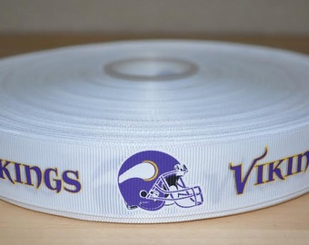 7/8 inch Minnesota Vikings Grosgrain Ribbon( 5 yard Package)