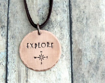 Explore Necklace - Compass Necklace - Wanderlust Jewelry - Travel Necklace - Explorer Jewelry - Stamped Jewelry - Compass Rose