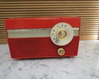 Vintage Retro 1950's Electric PHILCO Red Orange Radio---Model Unknown--Tube Radio??-Works!
