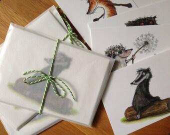 Set of 10 illustrated Postcards.