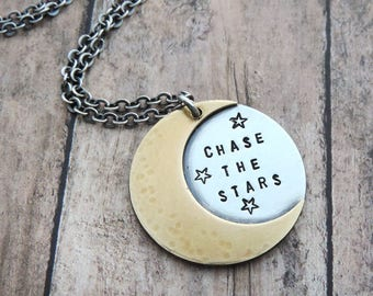 Crescent Moon Necklace - Celestial Jewelry - Chase the Stars - Mixed Metal Jewelry - Moon and Stars - Quote Jewelry