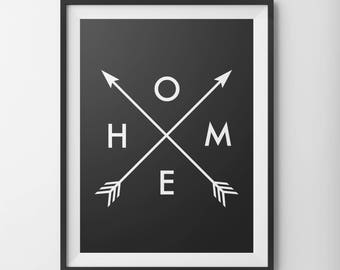 Home Arrows, Home Art Prints, Black and White Home Decor, Nursery Print, 11x14 Wall Print, 5x7 Wall Art, 8x10 Art Print, Rustic Arrows