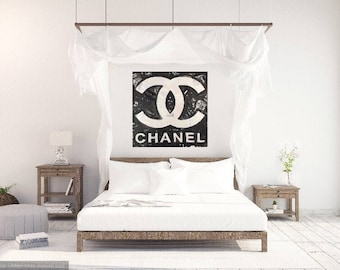 Black and White Coco Chanel Painting on Canvas by Matt Pecson MADE TO ORDER Chanel Art Chanel Home Decor Fashion Wall Art Bedroom Decor