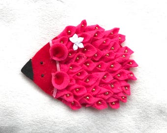 felt red headband Porcupine hairband brooch hairpin felted statement jewelry for kids felted accessories  cute hairband return gifts