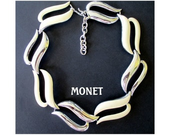 MONET Necklace * Large Link * Enamel With Silver Tone * Statement Necklace