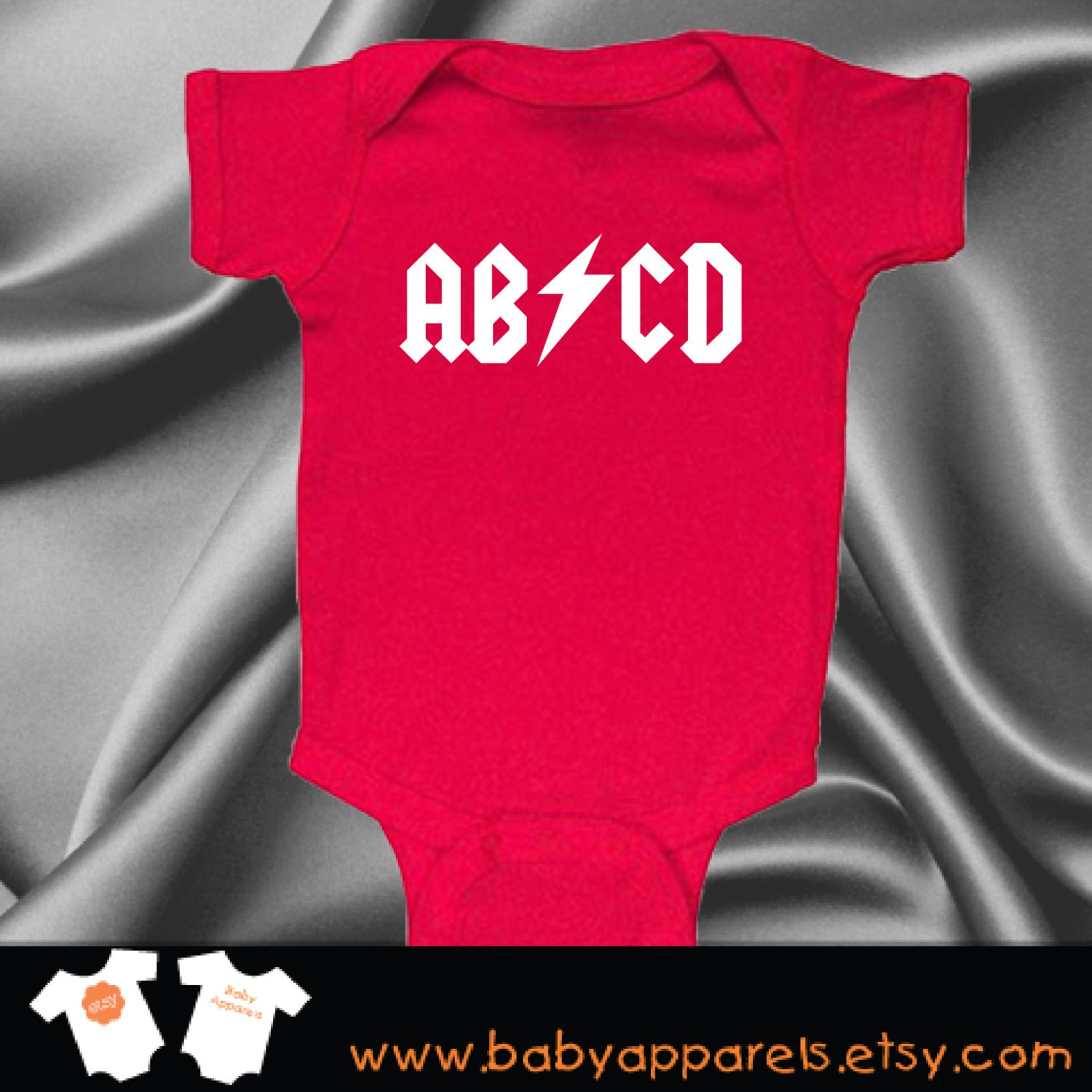ABCD ACDC Rock Band baby Clothes Funny Baby Clothes