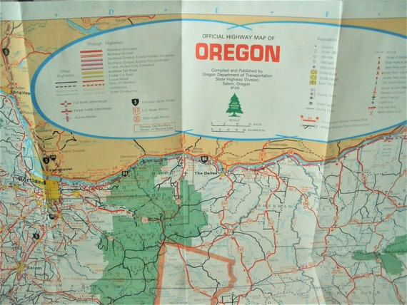 Vintage Oregon highway map road city maps 1988 free shipping
