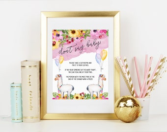Don't Say Baby, Baby Shower Game, Don't Say Baby Game Sign, Llama Baby Shower, Fiesta Baby Shower, Fiesta Invitation, Printable No. 1046