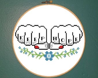 Keep hope tattoo knuckle floral counted cross stitch pattern *PATTERN ONLY* PDF Instant download