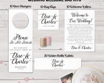 Wedding Welcome Bag Kit,  Destination Wedding, Wedding Favors, Welcome Bags, Tags, Water Bottle Labels, Door Hanger