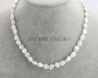 8mm white keshi pearl necklace,irregular baroque pearl necklace bracelet set,classic pearl choker necklace,bridesmaid pearl necklace gift