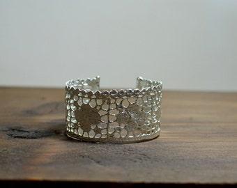 Silver openwork wide cuff, Silver Lace bracelet, Lace jewelry, Statement bracelet for small wrist, Silver bracelet