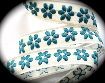 "Ribbon  - 5/8"" x 5 yds Natural and Teal Flower - Vintage"