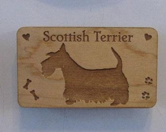 "Original Design ScottishTerrier Wood Magnet - ""Scottie"""