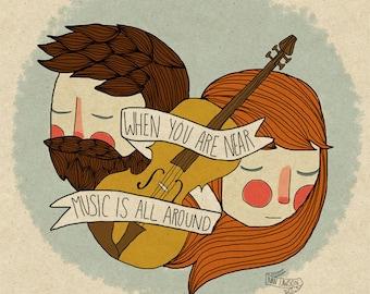 Music Is All Around - Illustration Print