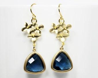 Navy Blue Earrings Blue And Gold Flower Dangle Earrings