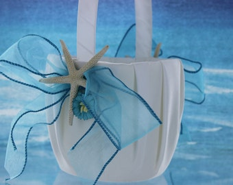 Starfish Flower girl Basket / Flower Girl  /  Beach Turquoise Basket / Starfish  Wedding Basket / Tropical Wedding / Destination Wedding /