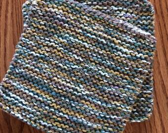 Hand Knit Cotton Pot Holders - Set of 2 Hot Pads