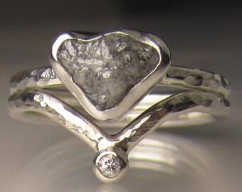 Raw Diamond Engagement Set, Rough Diamond Ring, Rough Diamond Bridal Set