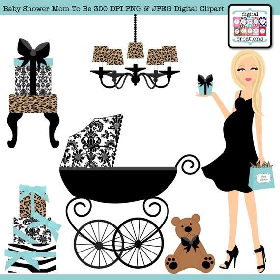 Dusche clipart  Leopard Damast blau Baby Dusche Clipart Grafik-Design