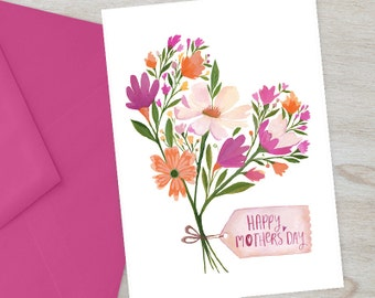 Happy Mother's Day Card | Printable Floral Mother's Day Card | Spring Flowers Card for Mom | Digital Card for Mum | Mother's Day Gift Card