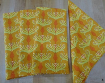 Large Cloth Napkins, Cloth Napkins, Orange Napkins with Yellow and Orange Flowers with White dots.  Modern Everyday Dinner Napkins Sets of 4
