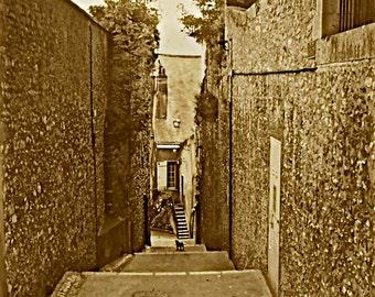 "Narrow Walkway Photo, Fine Art Canvas Photography, Vintage Photography, Sepia Photography, Wall Photo Print, ""Narrow Passage in Village"""
