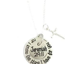 For I Know The Plans I Have For You - Jeremiah 29:11 Necklace - Religious - Sterling Silver - Personalized Jewelry - Engraved Jewelry