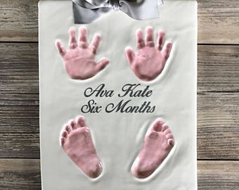 Ceramic Hand Print - Baby Footprint Gift - Unique Handmade Baby Art - Keepsake of your Baby - Baby Handprint and Footprint - Baby Feet Art
